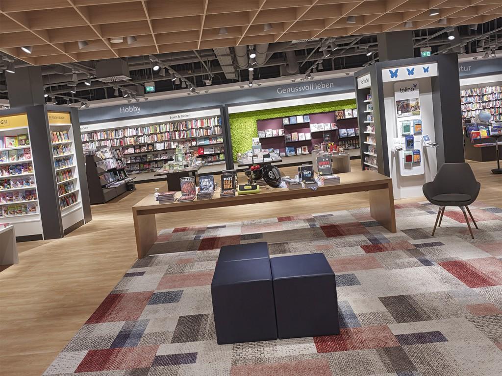 Neugestaltung Buchhandlung Wittwer im Breuningerland; Grassinger Innenarchitektur
